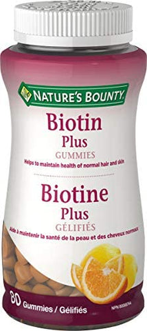 NATURE'S BOUNTY BIOTIN PLUS GUMMIES 80'S