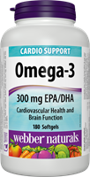 Omega-3 Fish Oils, 1000 mg (EPA 180, DHA 120), 180 softgels