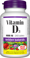 Vitamin D3, 1000 IU, 240 tablets
