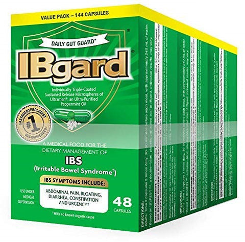 New IBgard for Irritable Bowel Syndrome, 48 Capsules (3 Pack)