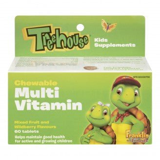 Treehouse Multi vitamin, Chewable Mixed Fruits & Wildberry Flavours, 60 chewable tablets