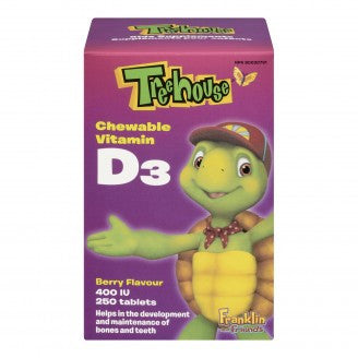 Treehouse Vitamin D3, Chewable Berry Flavour, 400IU, 250 chewable tablets