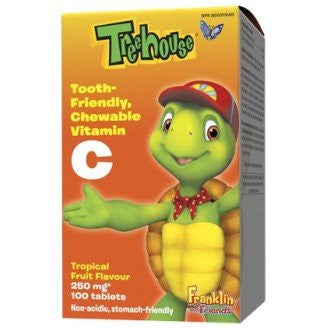 Treehouse Vitamin C, Tooth Friendly Chewable Tropical Fruit Flavour, 250mg, 100 chewable tablets