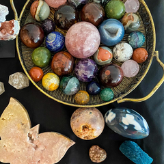 Variety of crystals in a tray