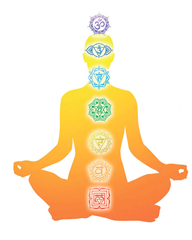 Chakras aligned on a person