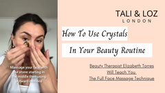 Elizabeth showing how to use crystals in beauty routine