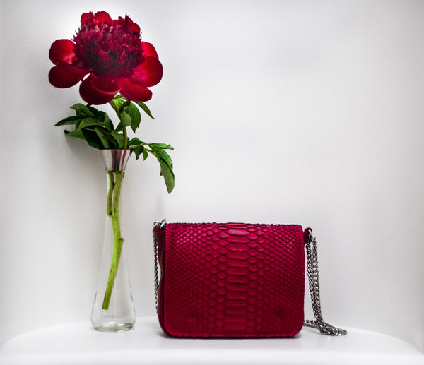 Sharon Cherry Red Python Crossbody Bag | Valenz Handmade