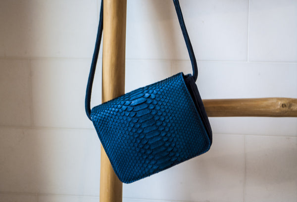 Sharon Navy Blue Python Crossbody Bag | Valenz Handmade