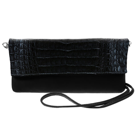 Kelly Black Crocodile Crossbody Bag | Valenz Handmade