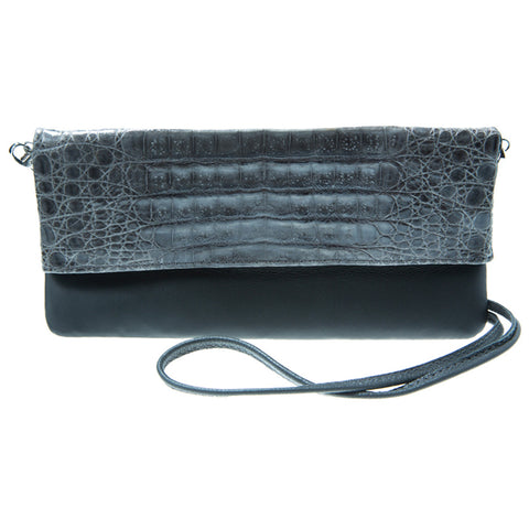 Kelly Gray Crocodile Crossbody Bag | Valenz Handmade