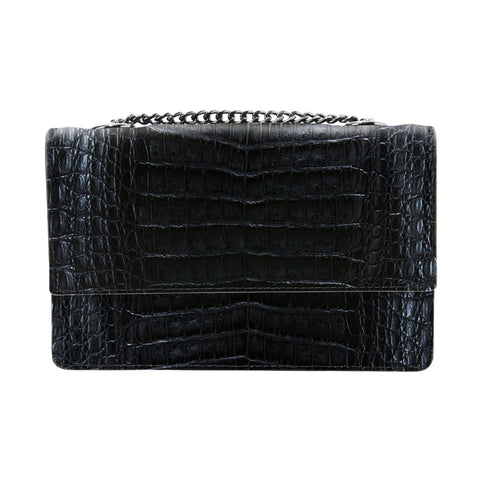 Lenny Black Crocodile Crossbody Bag | Valenz Handmade