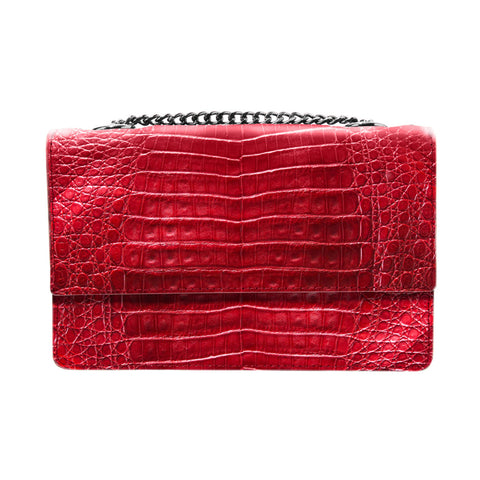 Lenny Red Crocodile Crossbody Bag | Valenz Handmade