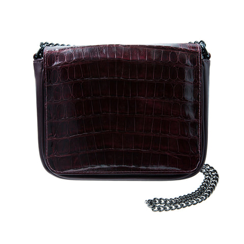 Sharon Burgundy Crocodile Crossbody Bag | Valenz Handmade