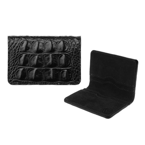 Bifold Wallet Black Embossed Crocodile I | Valenz Handmade