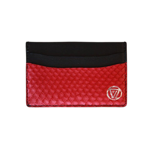 Card Holder Cherry Red Matte Python | Valenz Handmade