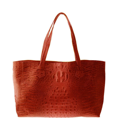 Josephine Red Embossed Crocodile Leather Tote | Valenz Handmade