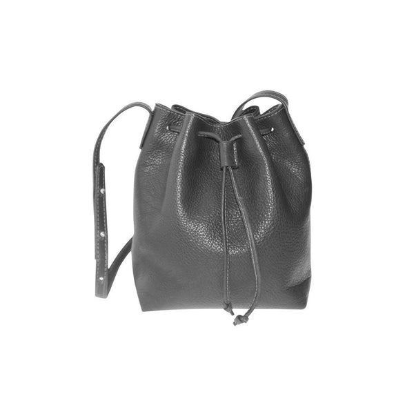 Mini Julie Gray Leather Bucket Bag | Valenz Handmade