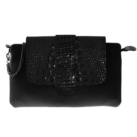 Roxy Black Embossed Crocodile Leather Clutch | Valenz Handmade