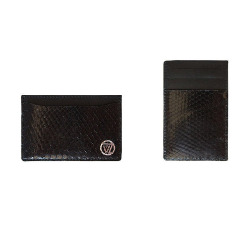 Vertical Card Holder Black Glossy Python | Valenz Handmade