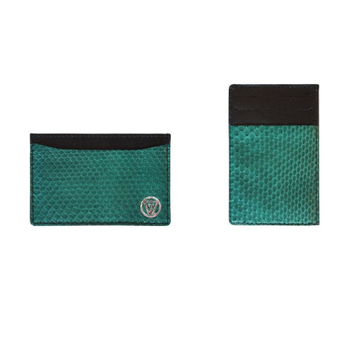 Vertical Card Holder Green Matte Python | Valenz Handmade