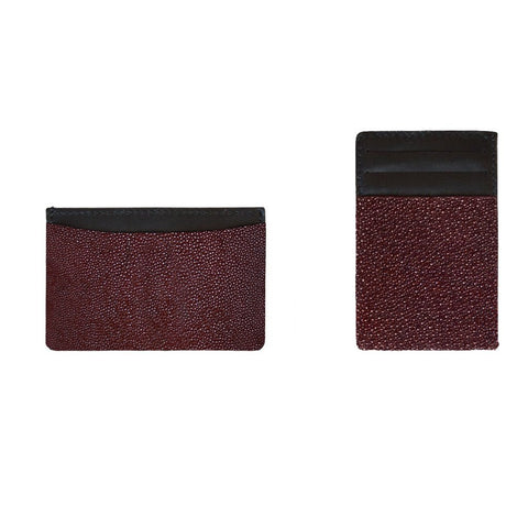 Vertical Card Holder Burgundy Stingray | Valenz Handmade