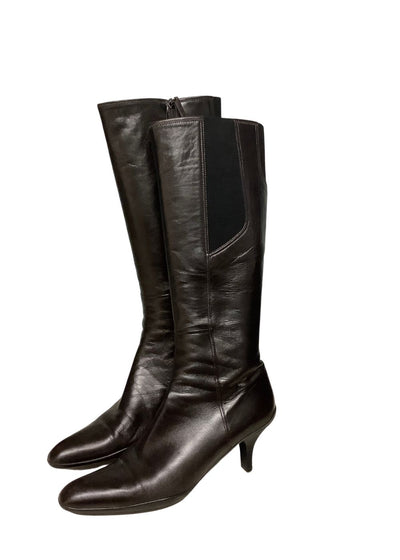 PRADA Dark Brown Leather Boots Sz 10
