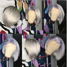 Load image into Gallery viewer, Gray Ombré Short Body Human Hair Wig