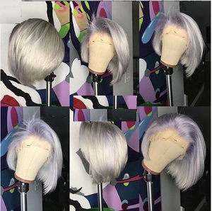 Gray Ombré Short Body Human Hair Wig