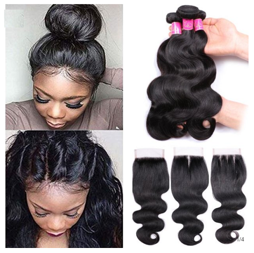 Top Quality Indian Body wave Human Hair with Closure