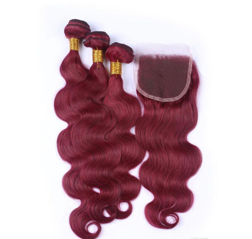 99J Wine Red Body wave 3 bundles with Closure