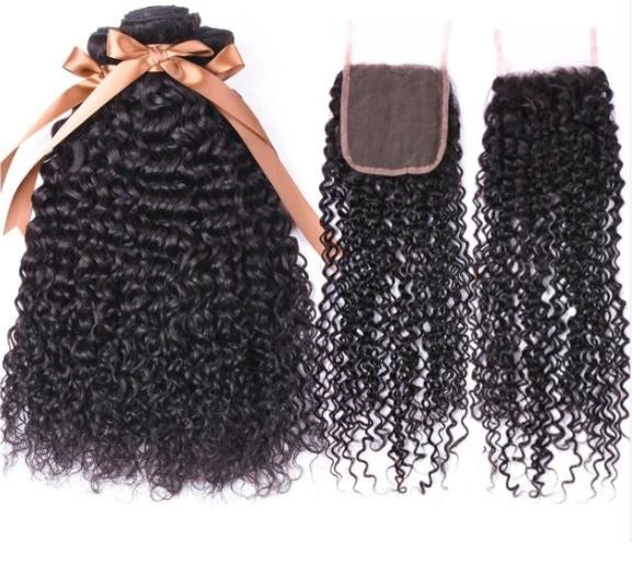 Peruvian Kinky Curly Hair 3 Bundles and Closure