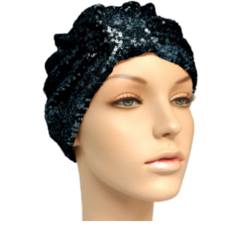 black sequinned turban