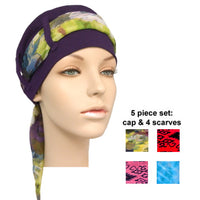 purple cap + 4 scarves