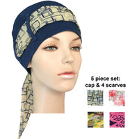 navy cap + 4 scarves