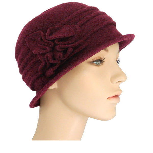 burgundy cloche with tucks and square flower