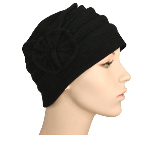 knit beanie with rosette