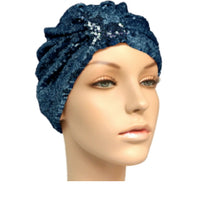 navy sequinned turban