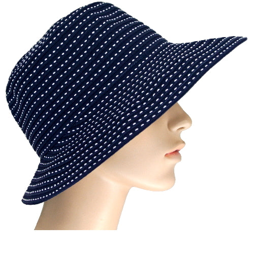 navy sunhat with white stitching feature