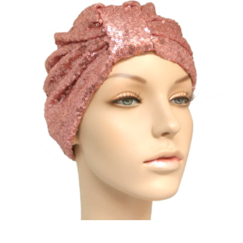 rose gold sequinned turban