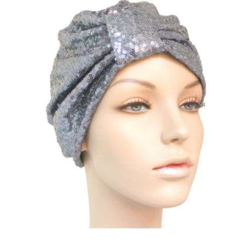 slate sequinned turban
