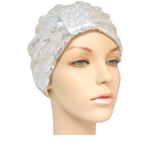 silver sequinned turban