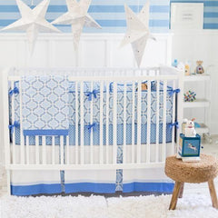 Blue and White Carousel Crib Bedding Collection