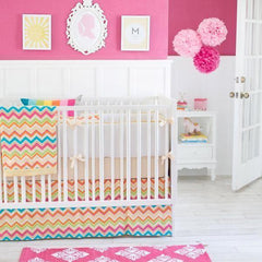 Yellow & Pink Chevron Sunnyside Up Crib Bedding Collection