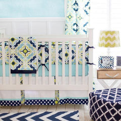 Lime Green & Navy Starburst in Kiwi Crib Bedding Collection