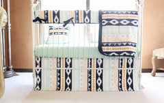 Gold and Mint Aztec Baby Bedding Collection