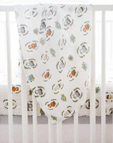 Muslin Swaddle Baby Blanket | Woodland Saltwater friends