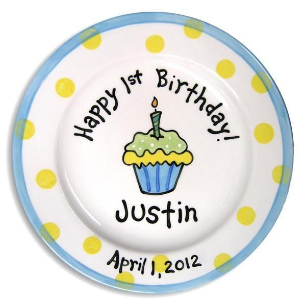 1st B-Day Cupcake Boys Hand-Painted Ceramic Plate-Ceramic Plate-Jack and Jill Boutique