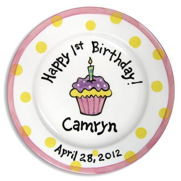 1st B-Day Cupcake Girls Hand-Painted Ceramic Plate-Ceramic Plate-Jack and Jill Boutique