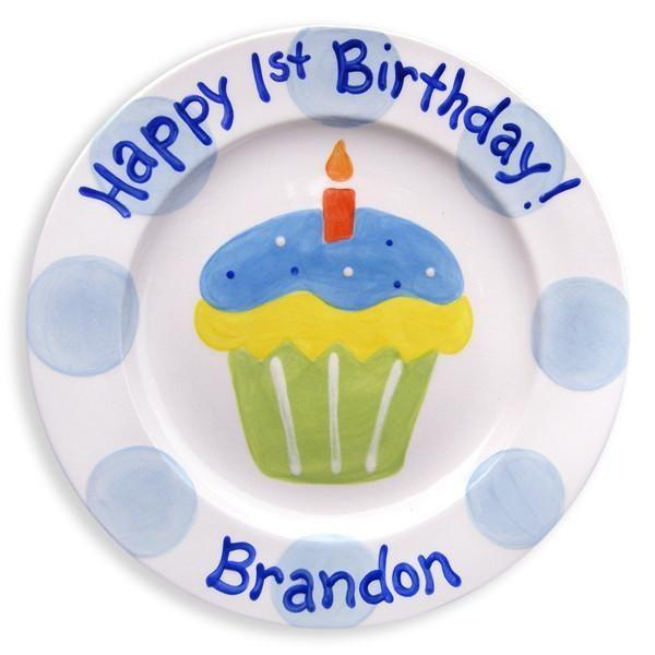 1st Birthday Cupcake Boys Hand-Painted Ceramic Plate