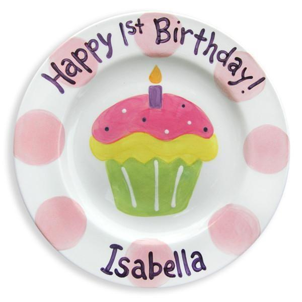 1st Birthday Cupcake Girls Hand-Painted Ceramic Plate-Ceramic Plate-Jack and Jill Boutique